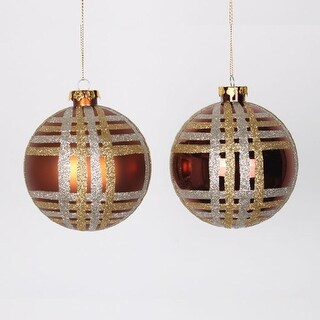 """4ct Copper w/ Champagne Gold & Silver Glitter Plaid Shatterproof Christmas Ball Ornaments 4"""" (100mm)"""
