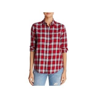 The Blue Shirt Shop Womens Button-Down Top Plaid Collared