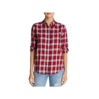 4677f4c8cf851 The Blue Shirt Shop Womens Button-Down Top Plaid Long Sleeve - m