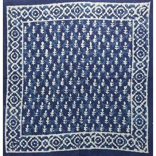 "Gorgeous Unique Handmade Dabu Block Print 100% Cotton Scarf Square Blue 20x20 and 42x42 - 20"" x 20"" blue diamond"