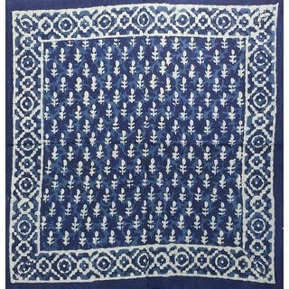 """Gorgeous Unique Handmade Dabu Block Print 100% Cotton Scarf Square Blue 20x20 and 42x42 - 20"""" x 20"""" blue diamond