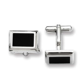Stainless Steel Black IP Cuff Links