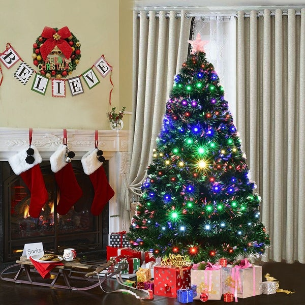 e59d650523c Costway 6  x27  Pre-Lit Fiber Optic Artificial Christmas Tree w Multicolor