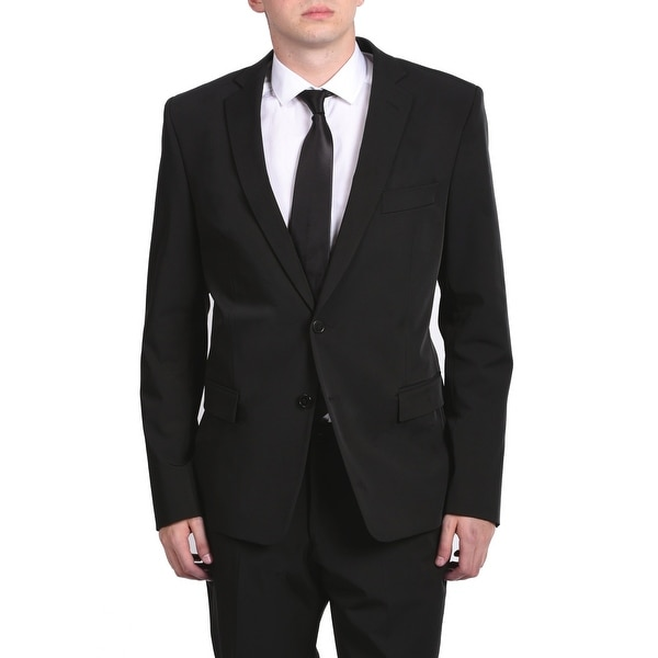 Versace Men's Solid Two-Piece Polyester Suit Black