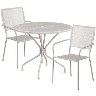 Westbury Round 35.25'' Light Gray Steel Table Set w/2 Square Back Chairs for Restaurant/Bar/Pub/Patio