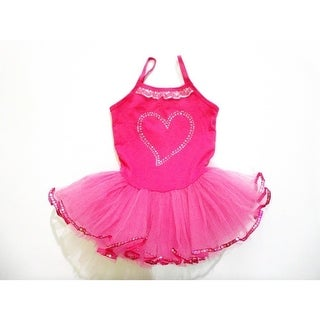 Hot Pink Rhinestone Heart Tutu Ballet Dress Girls S-XL