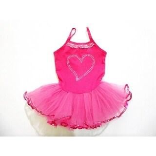 Hot Pink Rhinestone Heart Tutu Ballet Dress Girls S-XL