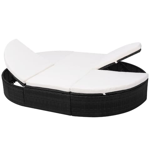 vidaXL Outdoor Lounge Bed with Cushion Poly Rattan Black