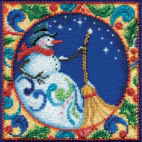 "Mill Hill/Jim Shore Counted Cross Stitch Kit 5""X5""-Snowman (18 Count)"