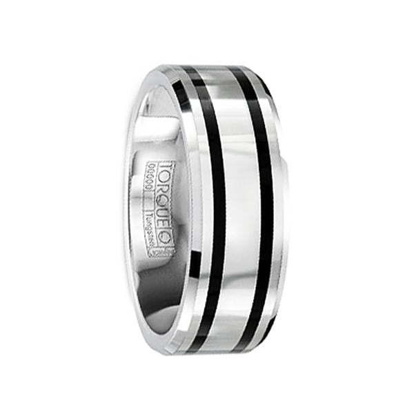 FABIANUS Tungsten Carbide Wedding Band with Black Enamel Inlay & Polished Finish by Crown Ring - 8mm