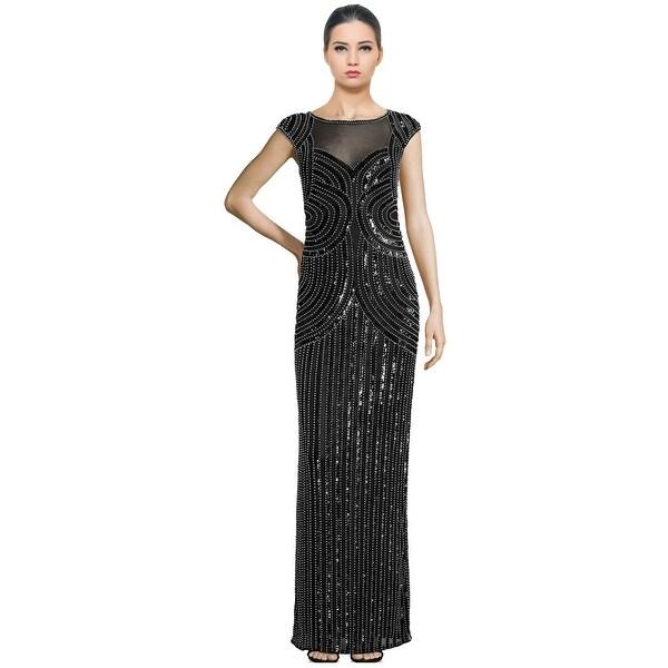 Shop Parker Black Jennifer Embellished Illusion Cap Sleeve Evening ...