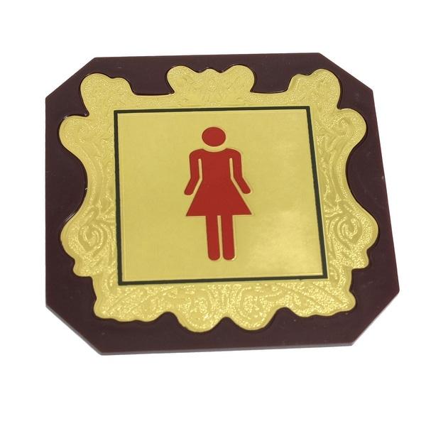 Unique Bargains Unique Bargains Red Ladies Room WC Toilet Door Notice  Signing Board Brown
