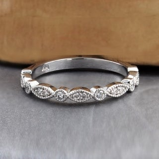 Auriya Stackable Vintage Milgrain 1/6ctw Diamond Wedding Band 14k Gold