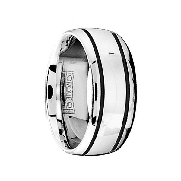 Domed Cobalt Wedding Ring Polished Finish with Dual Black Grooved Lines by Crown Ring - 9mm