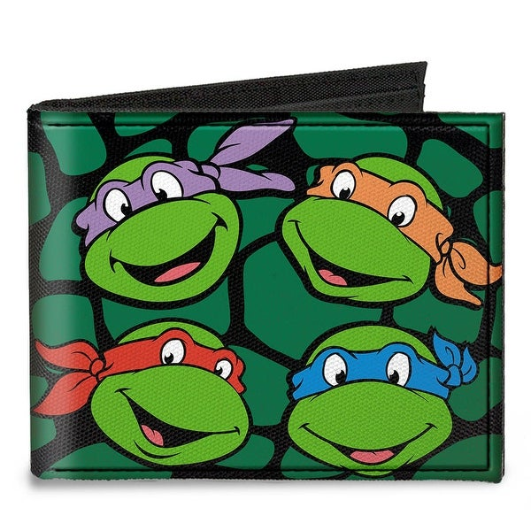Classic Tmnt Turtle Faces Black Green Turtle Shell Canvas Bi Fold Wallet One Size - One Size Fits most