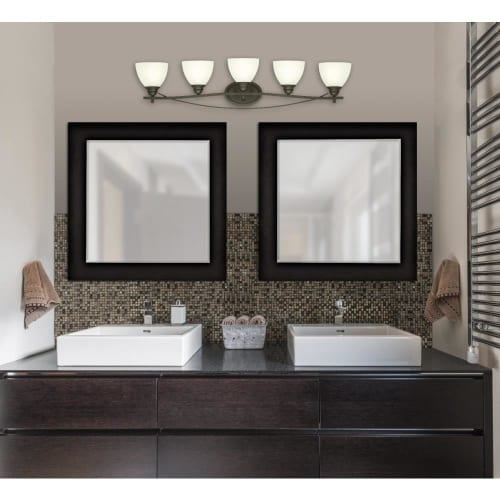 """Westinghouse 6303600 Elvaston 39"""" Wide 5 Light Bathroom Vanity Light with Frosted Glass Shades"""