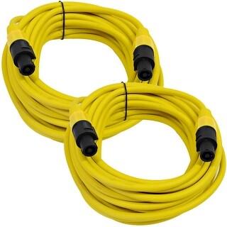 SEISMIC AUDIO Pair of 12 Gauge 25' Yellow Speakon to Speakon Speaker Cables