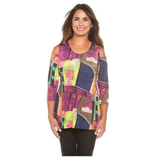 Women's Tunic Top - Cool Shoulder Optic Watercolor Tunic - 3/4 Sleeves (More options available)