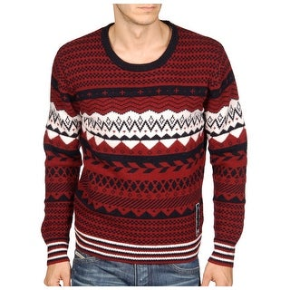 Diesel Lalama Sweater X-Large Mahogany Red and Navy Crewneck Pullover