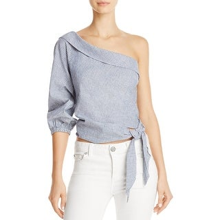 Free People Womens Get Down Casual Top Pinstriped Tie-Side
