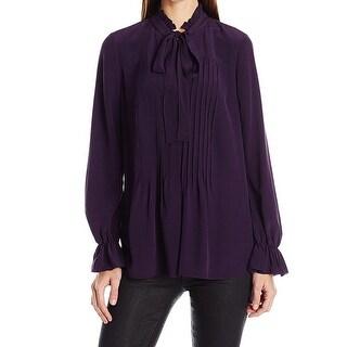 Elie Tahari NEW Purple Women's Size Medium M Ruffled Top Blouse Silk
