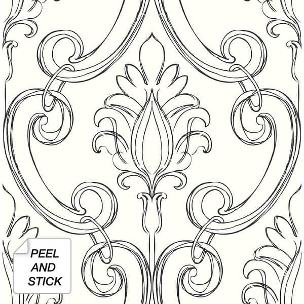 Shop Nextwall Sketched Damask Peel And Stick Wallpaper Overstock 32072773