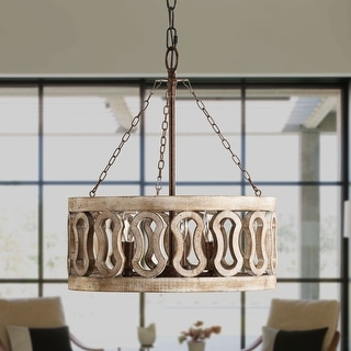 3-Light Drum Shade Wood Chandelier with 3 Chains, Rust Wood (As Is Item)