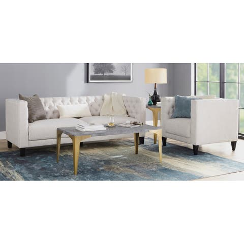 Lifestorey Modern Chesterfield Back Sofa and Chair Set