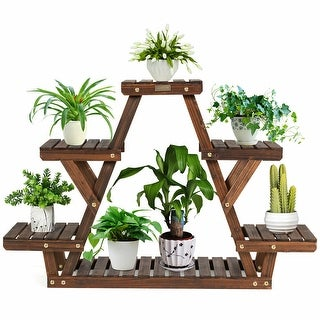Link to Gymax Wood Plant Stand Triangular Shelf 6 Pots Flower Shelf Storage - 32'' x 10'' x 30'' (L x W x H) Similar Items in Planters, Hangers & Stands