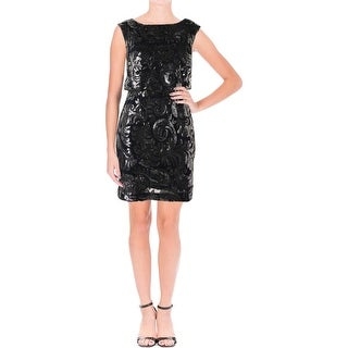 Adrianna Papell Womens Petites Cocktail Dress Sequined Blouson