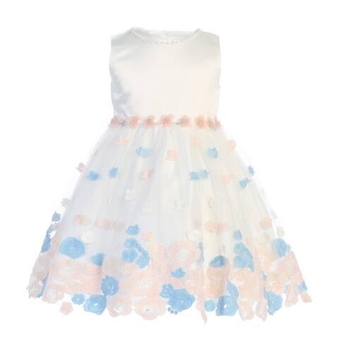 Baby Girls Ivory Blue Satin Embroidered Tulle Flower Girl Dress