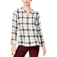 NY Collection Womens Tunic Top Adjustable Sleeves Plaid