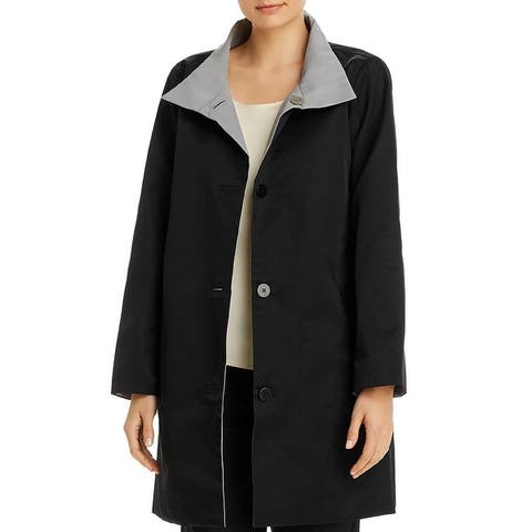 Eileen Fisher Womens Jacket Reversible Stand Collar - Black/Gray
