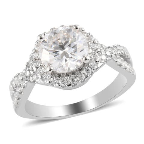 Shop LC Platinum Over 925 Sterling Silver Moissanite Halo Ring Ct 1.9