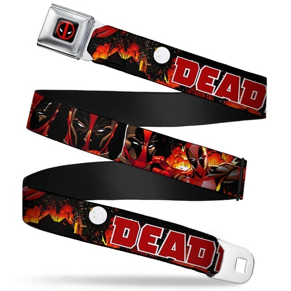 Marvel Universe Deadpool Logo Full Color Black Red White Deadpool Explosion Seatbelt Belt