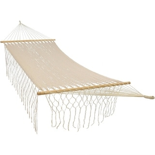 Sunnydaze Natural-Color American Handwoven Single Hammock with Spreader Bars