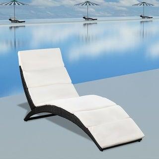 "vidaXL Folding Sun Lounger with Cushion Poly Rattan - 63.8"" x 25"" x 33.9"""