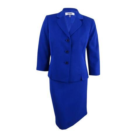 Le Suit Women's Textured Three-Button Skirt Suit (6, Bali Blue/Black) - Bali Blue/Black - 6