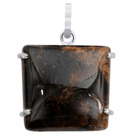 Pietersite Sterling Silver Square Chain Pendant by Orchid Jewelry