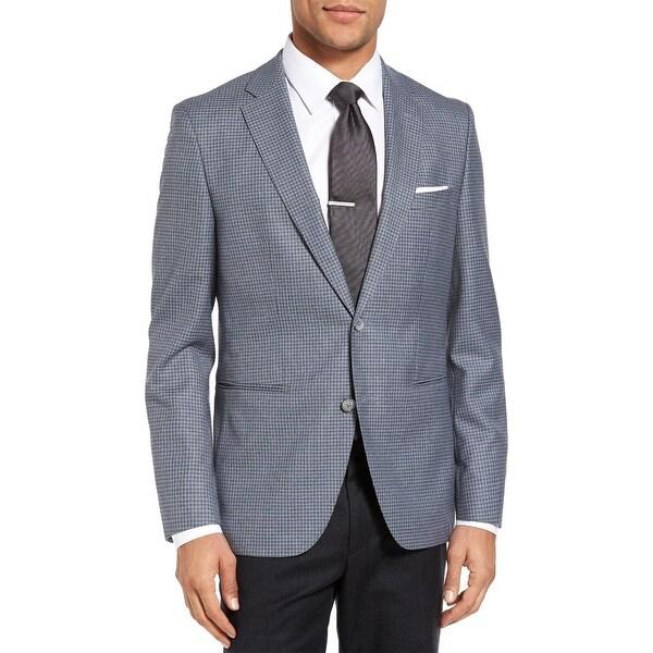 22167e57b Boss By Hugo Boss Mens Jedson Trim Fit Check Wool Sportcoat 38 Short Blue  Blazer