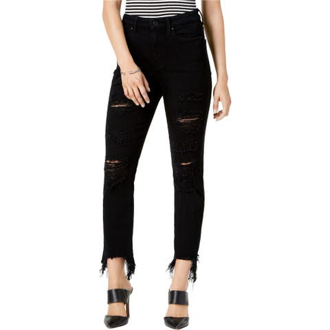 GUESS Womens Ripped Skinny Fit Jeans, Black, 28