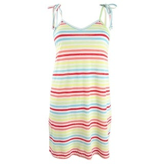Link to Miken Women's Striped Tie-Shoulder Tank-Dress Swim Cover-Up - Rainbow Stripe Similar Items in Swimwear