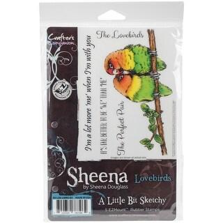 Lovebirds - Sheena's A Little Bit Sketchy Tropical Bird EZMount Stamps