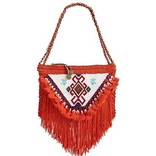 Sam Edelman Naomi Womens Beaded Tassel Shoulder Bag Dark Orange