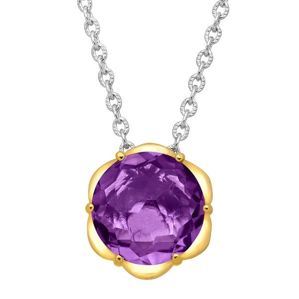 2 5/8 ct Natural Amethyst Scalloped Solitaire Pendant in Sterling Silver & 14K Gold - Purple