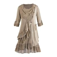 Women's Tunic Top Set - Heavenly Lace 2 Piece Blouse and Vest