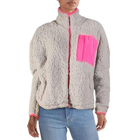 Aqua Womens Jacket Winter Faux Fur - Grey