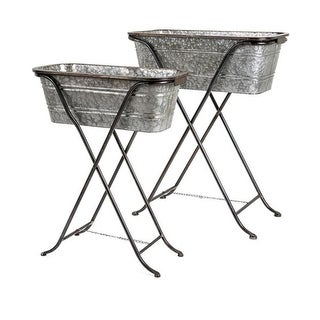 Set of 2 Decorative Rectangular Galvanized Metal Planters with Stand