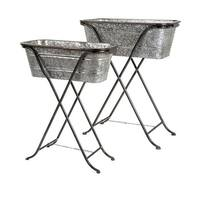 Set of 2 Decorative Rectangular Galvanized Metal Planters with Stand - Silver