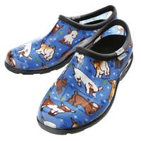 Sloggers Women's Farm Animal Print Water-Proof Clogs - Blue Goats